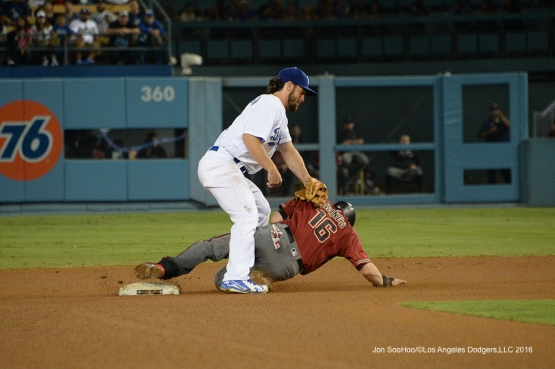 Charlie Culberson with the tag against the Arizona Diamondbacks Wednesday, September 7, 2016 at Dodger Stadium. Photo by Jon SooHoo/©Los Angeles Dodgers,LLC 2016