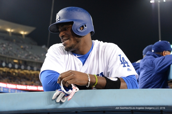 Yasiel Puig during game against the Arizona Diamondbacks Wednesday, September 7, 2016 at Dodger Stadium. Photo by Jon SooHoo/©Los Angeles Dodgers,LLC 2016