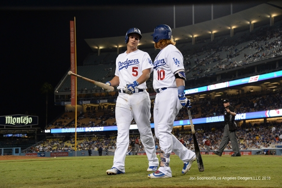 Corey Seager and Justin Turner during game against the Arizona Diamondbacks Wednesday, September 7, 2016 at Dodger Stadium. Photo by Jon SooHoo/©Los Angeles Dodgers,LLC 2016