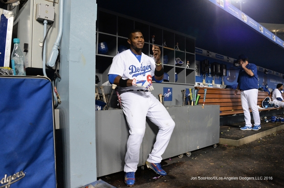 Yasiel Puig during game against the Arizona Diamondbacks Wedneday, September 7, 2016 at Dodger Stadium. Photo by Jon SooHoo/©Los Angeles Dodgers,LLC 2016