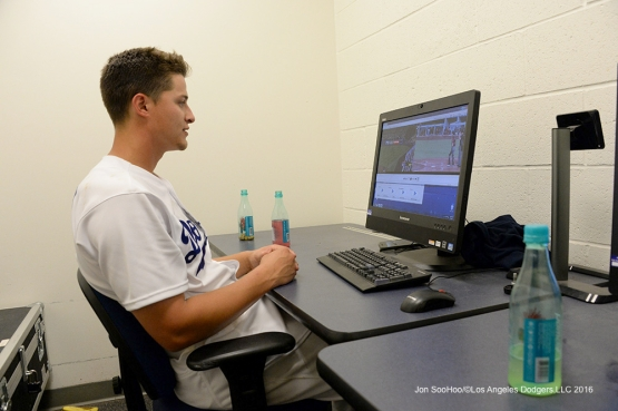 Corey Seager goes over video after win against the Arizona Diamondbacks Wednesday, September 7, 2016 at Dodger Stadium. Photo by Jon SooHoo/©Los Angeles Dodgers,LLC 2016