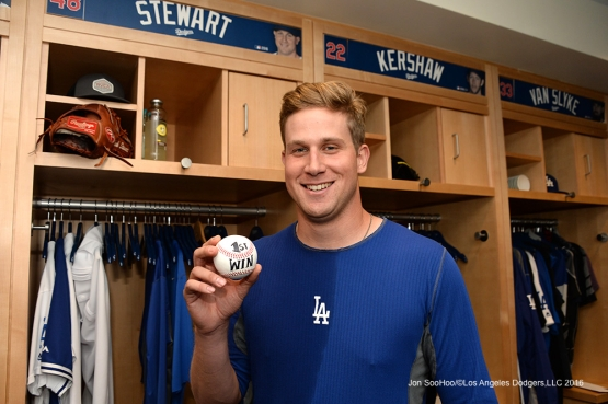 Brock Stewart gets his first win in the big leagues  Wednesday, September 7, 2016 at Dodger Stadium. Photo by Jon SooHoo/©Los Angeles Dodgers,LLC 2016