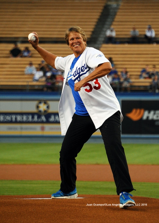 Ann Meyers Drysdale throws out the ceremonial first pitch.