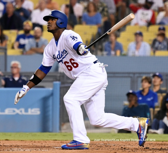 Yasiel Puig hits a sacrifice fly.