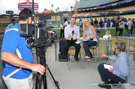 Jon Weisman and Ericka Weston on Facebook Live prior to game against the San Francisco Giants Monday, September 19, 2016 at Dodger Stadium. Photo by Jon SooHoo/©Los Angeles Dodgers,LLC 2016