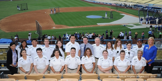 Los Angeles Dodgers Fan Services pose prior to game against the San Francisco Giants Monday, September 19, 2016 at Dodger Stadium. Photo by Jon SooHoo/©Los Angeles Dodgers,LLC 2016