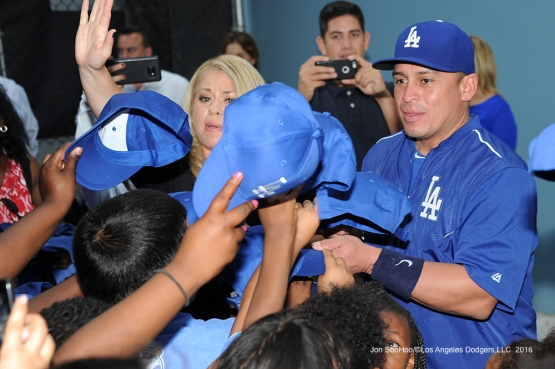 Chooch's Chicos meet Carlos Ruiz prior to game against the San Francisco Giants Monday, September 19, 2016 at Dodger Stadium. Photo by Jon SooHoo/©Los Angeles Dodgers,LLC 2016
