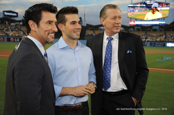 Nomar Garciaparra, Joe Davis and Orel Hershiser pose prior to game against the San Francisco Giants Monday, September 19, 2016 at Dodger Stadium. Photo by Jon SooHoo/©Los Angeles Dodgers,LLC 2016