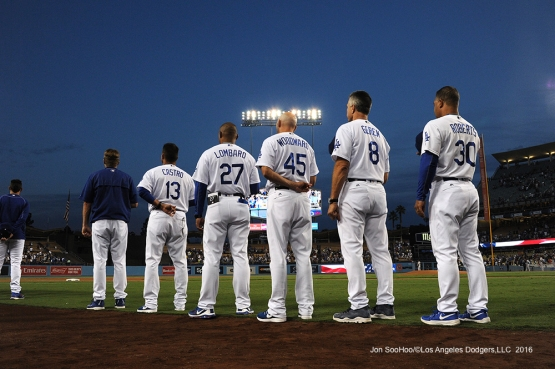 Los Angeles Dodgers stand for the anthem prior to game against the San Francisco Giants Monday, September 19, 2016 at Dodger Stadium. Photo by Jon SooHoo/©Los Angeles Dodgers,LLC 2016