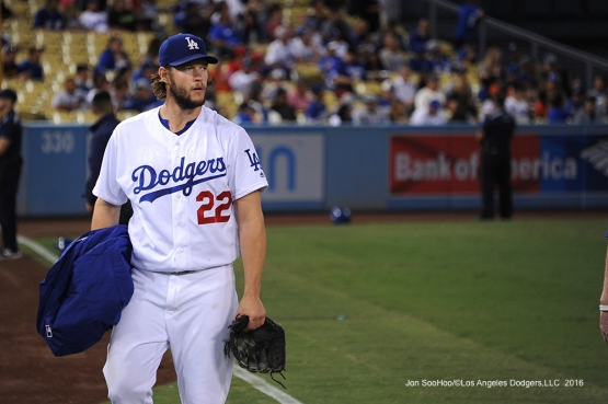 Clayton Kershaw prior to start against the San Francisco Giants Monday, September 19, 2016 at Dodger Stadium. Photo by Jon SooHoo/©Los Angeles Dodgers,LLC 2016
