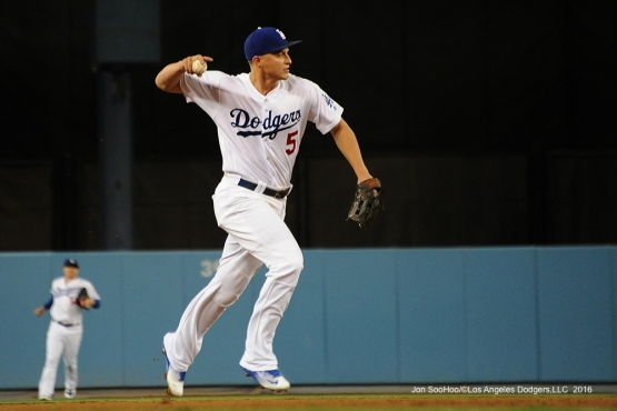 Corey Seager throws to first during game against the San Francisco Giants Monday, September 19, 2016 at Dodger Stadium. Photo by Jon SooHoo/©Los Angeles Dodgers,LLC 2016