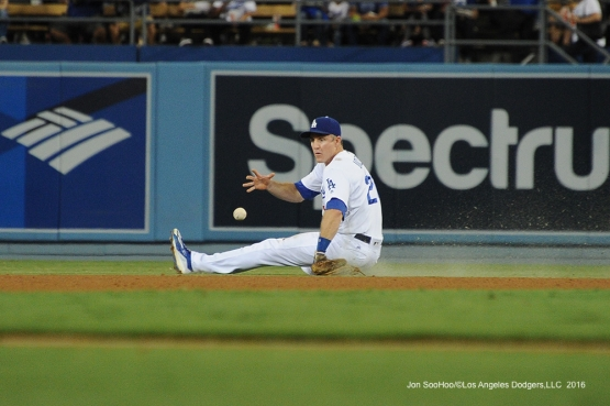 Chase Utley makes play against the San Francisco Giants Monday, September 19, 2016 at Dodger Stadium. Photo by Jon SooHoo/©Los Angeles Dodgers,LLC 2016