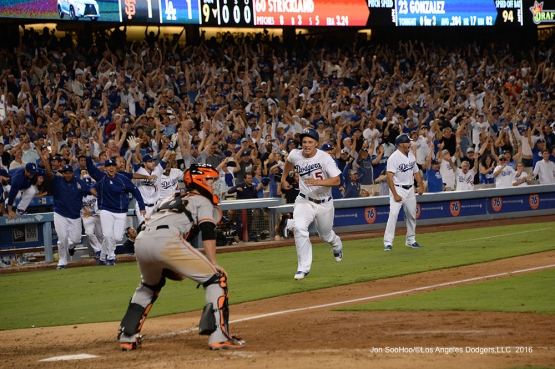 Corey Seager scores on Adrian Gonzalez walk off single against the San Francisco Giants Monday, September 19, 2016 at Dodger Stadium. Photo by Jon SooHoo/©Los Angeles Dodgers,LLC 2016