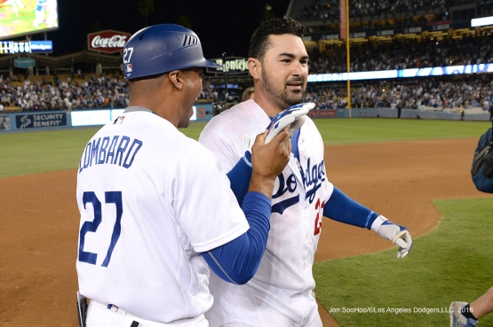 Los Angeles Dodgers win on walk off single by Adrian Gonzalez to beat  the San Francisco Giants Monday, September 19, 2016 at Dodger Stadium. Photo by Jon SooHoo/©Los Angeles Dodgers,LLC 2016
