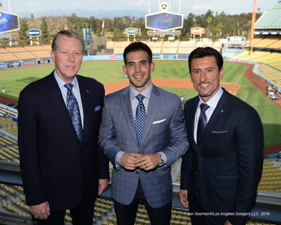 Orel Hershiser, Joe Davis and Nomar Garciaparra pose prior to game against the San Francisco Giants Tuesday, September 20, 2016 at Dodger Stadium. Photo by Jon SooHoo/©Los Angeles Dodgers,LLC 2016