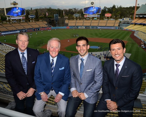 Orel Hershiser, Vin Scully, Joe Davis and Nomar Garciaparra pose prior to game against the San Francisco Giants Tuesday, September 20, 2016 at Dodger Stadium. Photo by Jon SooHoo/©Los Angeles Dodgers,LLC 2016