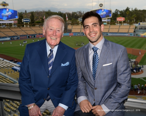 Vin Scully and Joe Davis pose prior to game against the San Francisco Giants Tuesday, September 20, 2016 at Dodger Stadium. Photo by Jon SooHoo/©Los Angeles Dodgers,LLC 2016