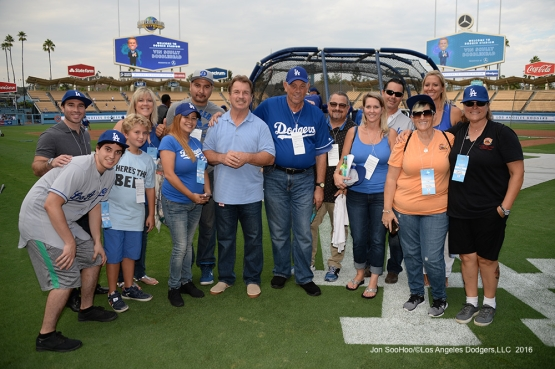 Great Los Angeles Dodger fans pose prior to game against the San Francisco Giants Tuesday, September 20, 2016 at Dodger Stadium. Photo by Jon SooHoo/©Los Angeles Dodgers,LLC 2016