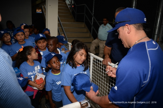 Carlos Ruiz signs for Chooch's Chicos prior to game against the San Francisco Giants Tuesday, September 20, 2016 at Dodger Stadium. Photo by Jon SooHoo/©Los Angeles Dodgers,LLC 2016