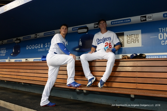 Joc Pederson and Chase Utley prior to game against the San Francisco Giants Tuesday, September 20, 2016 at Dodger Stadium. Photo by Jon SooHoo/©Los Angeles Dodgers,LLC 2016