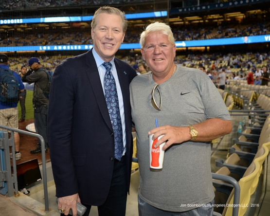 Orel Hershiser and John Daly pose prior to game against the San Francisco Giants Tuesday, September 20, 2016 at Dodger Stadium. Photo by Jon SooHoo/©Los Angeles Dodgers,LLC 2016