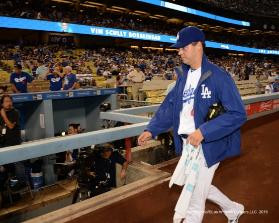 Rich Hill heads to the dugout prior to game against the San Francisco Giants Tuesday, September 20, 2016 at Dodger Stadium. Photo by Jon SooHoo/©Los Angeles Dodgers,LLC 2016