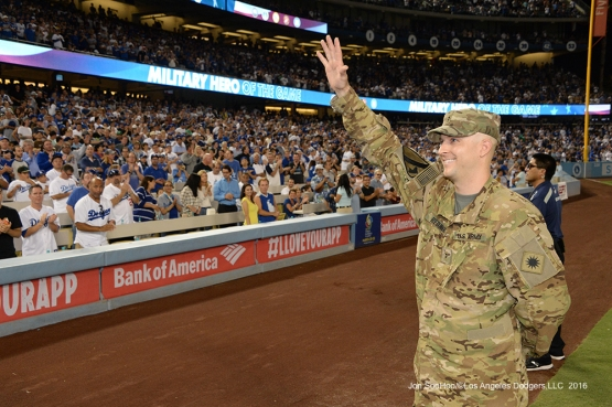 Los Angeles Dodgers Military Hero of the Game, California National Guard, Matthew Bednar waves to the crowd during game against the San Francisco Giants Tuesday, September 20, 2016 at Dodger Stadium. Photo by Jon SooHoo/©Los Angeles Dodgers,LLC 2016