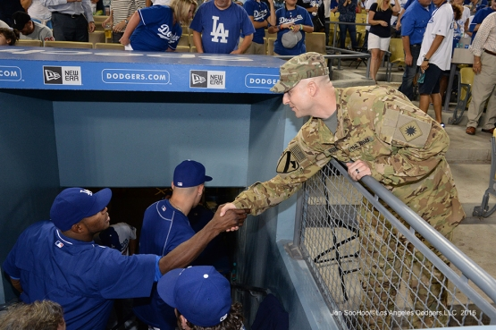 Los Angeles Dodgers Military Hero of the Game, California National Guard, Matthew Bednar meets the team during game against the San Francisco Giants Tuesday, September 20, 2016 at Dodger Stadium. Photo by Jon SooHoo/©Los Angeles Dodgers,LLC 2016