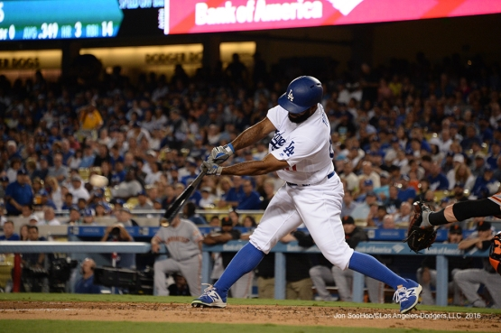 Andrew Toles connects during game against the San Francisco Giants Tuesday, September 20, 2016 at Dodger Stadium. Photo by Jon SooHoo/©Los Angeles Dodgers,LLC 2016