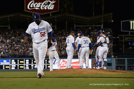 Pedro Baez comes out of the game against the San Francisco Giants Tuesday, September 20, 2016 at Dodger Stadium. Photo by Jon SooHoo/©Los Angeles Dodgers,LLC 2016