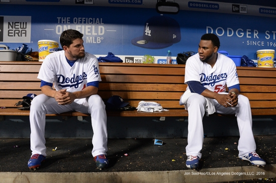 Los Angeles Dodgers Luis Avilan and Pedro Baez in the dugout during game against the San Francisco Giants Tuesday, September 20, 2016 at Dodger Stadium. Photo by Jon SooHoo/©Los Angeles Dodgers,LLC 2016