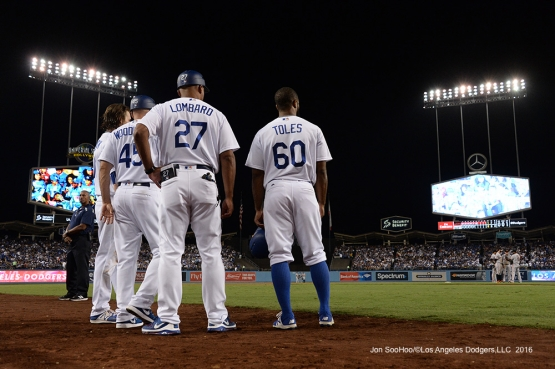Los Angeles Dodgers during game against the San Francisco Giants Tuesday, September 20, 2016 at Dodger Stadium. Photo by Jon SooHoo/©Los Angeles Dodgers,LLC 2016