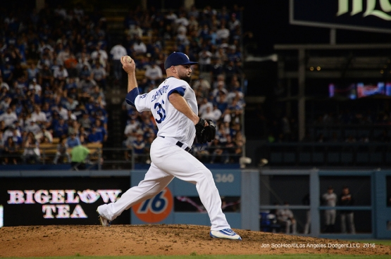 Adam Liberatore during game against the San Francisco Giants Tuesday, September 20, 2016 at Dodger Stadium. Photo by Jon SooHoo/©Los Angeles Dodgers,LLC 2016