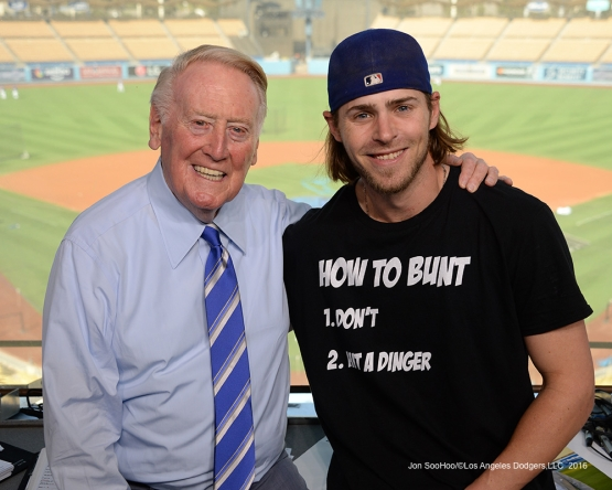 Vin Scully and Josh Reddick pose prior to game against the San Francisco Giants Wednesday, September 21, 2016 at Dodger Stadium. Photo by Jon SooHoo/©Los Angeles Dodgers,LLC 2016