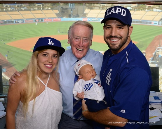 Vin Scully and the Segedin family pose prior to game against the San Francisco Giants Wednesday, September 21, 2016 at Dodger Stadium. Photo by Jon SooHoo/©Los Angeles Dodgers,LLC 2016