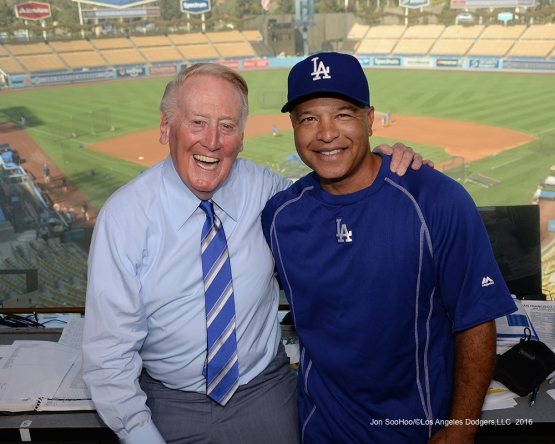 Vin Scully and Dave Roberts pose prior to game against the San Francisco Giants Wednesday, September 21, 2016 at Dodger Stadium. Photo by Jon SooHoo/©Los Angeles Dodgers,LLC 2016