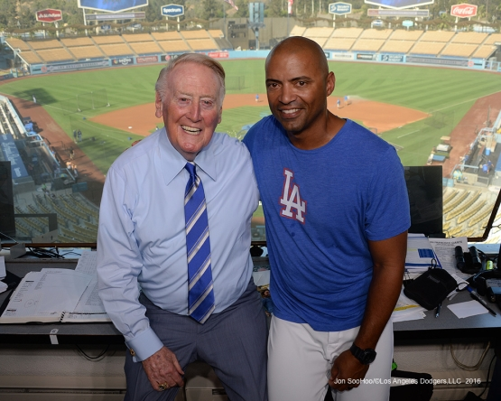 Vin Scully and George Lombard pose prior to game against the San Francisco Giants Wednesday, September 21, 2016 at Dodger Stadium. Photo by Jon SooHoo/©Los Angeles Dodgers,LLC 2016