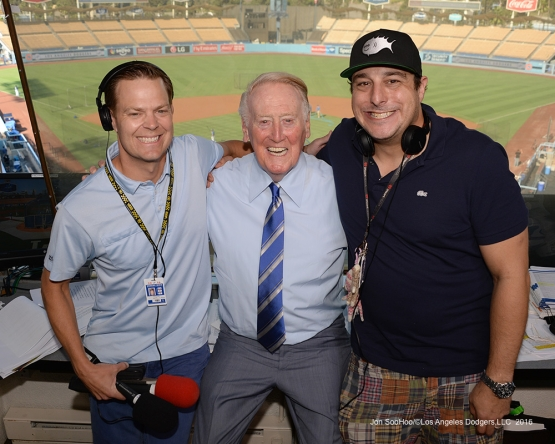Vin Scully poses with Petros and Money prior to game against the San Francisco Giants Wednesday, September 21, 2016 at Dodger Stadium. Photo by Jon SooHoo/©Los Angeles Dodgers,LLC 2016