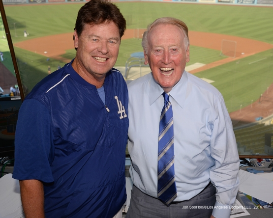 Vin Scully and Rick Honeycutt pose prior to game against the San Francisco Giants Wednesday, September 21, 2016 at Dodger Stadium. Photo by Jon SooHoo/©Los Angeles Dodgers,LLC 2016