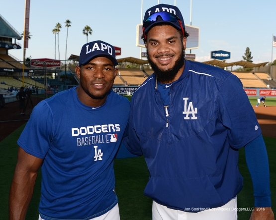 Yasiel Puig and Kenley Jansen pose prior to game against the San Francisco Giants Wednesday, September 21, 2016 at Dodger Stadium. Photo by Jon SooHoo/©Los Angeles Dodgers,LLC 2016