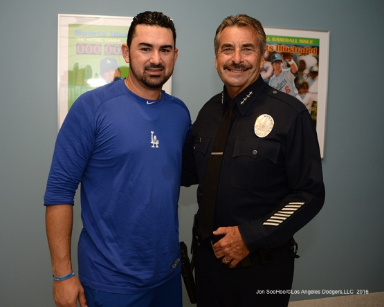 Adrian Gonzalez with LAPD Chief Charlie Beck prior to game against the San Francisco Giants Wednesday, September 21, 2016 at Dodger Stadium. Photo by Jon SooHoo/©Los Angeles Dodgers,LLC 2016