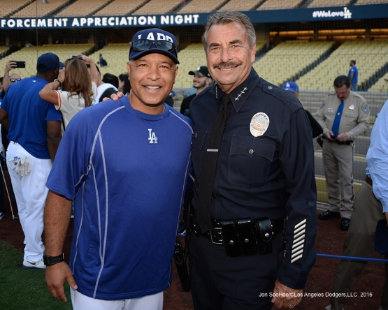 Dave Roberts with LAPD Chief Charlie Beck prior to game against the San Francisco Giants Wednesday, September 21, 2016 at Dodger Stadium. Photo by Jon SooHoo/©Los Angeles Dodgers,LLC 2016