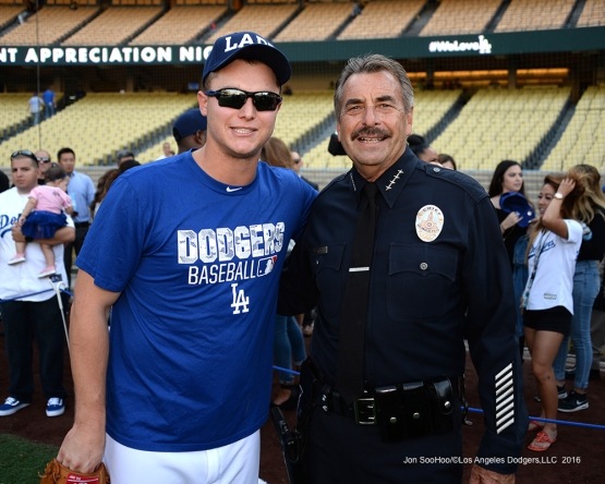 Joc Pederson with LAPD Chief Charlie Beck prior to game against the San Francisco Giants Wednesday, September 21, 2016 at Dodger Stadium. Photo by Jon SooHoo/©Los Angeles Dodgers,LLC 2016