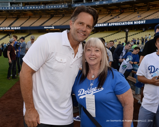 Great Los Angeles Dodger fan poses Eric Karros prior to game against the San Francisco Giants Wednesday, September 21, 2016 at Dodger Stadium. Photo by Jon SooHoo/©Los Angeles Dodgers,LLC 2016