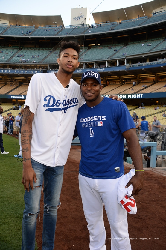 Los Angeles Laker Brandon Ingram and Yasiel Puig pose prior to game against the San Francisco Giants Wednesday, September 21, 2016 at Dodger Stadium. Photo by Jon SooHoo/©Los Angeles Dodgers,LLC 2016