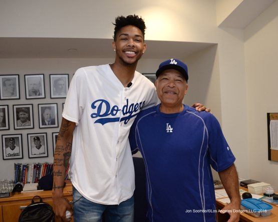 Los Angeles Laker Brandon Ingram and Dave Roberts pose prior to game against the San Francisco Giants Wednesday, September 21, 2016 at Dodger Stadium. Photo by Jon SooHoo/©Los Angeles Dodgers,LLC 2016