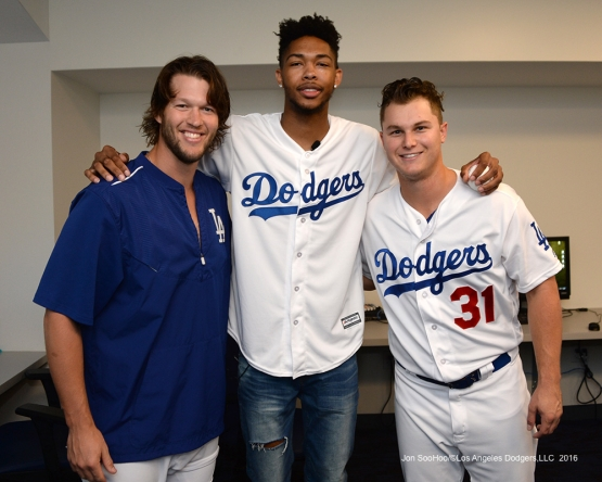 Los Angeles Laker Brandon Ingram poses with Clayton Kershaw and Joc Pederson prior to game against the San Francisco Giants Wednesday, September 21, 2016 at Dodger Stadium. Photo by Jon SooHoo/©Los Angeles Dodgers,LLC 2016