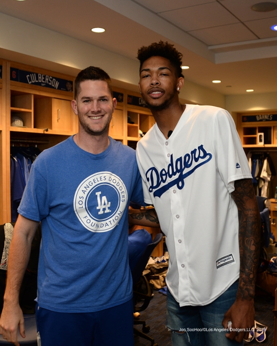 Los Angeles Laker Brandon Ingram and Alex Wood pose prior to game against the San Francisco Giants Wednesday, September 21, 2016 at Dodger Stadium. Photo by Jon SooHoo/©Los Angeles Dodgers,LLC 2016