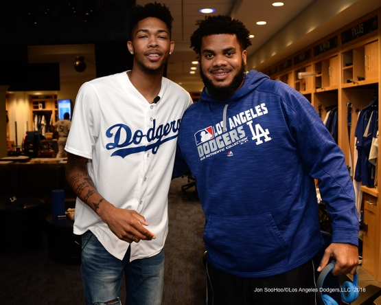Los Angeles Laker Brandon Ingram and Kenley Jansen pose prior to game against the San Francisco Giants Wednesday, September 21, 2016 at Dodger Stadium. Photo by Jon SooHoo/©Los Angeles Dodgers,LLC 2016