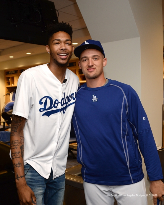 Los Angeles Laker Brandon Ingram and Trayce Thompson pose prior to game against the San Francisco Giants Wednesday, September 21, 2016 at Dodger Stadium. Photo by Jon SooHoo/©Los Angeles Dodgers,LLC 2016